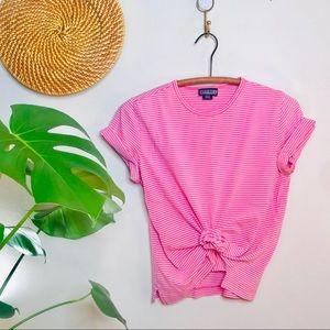 vtg retro 90s L.L.Bean Crop Stripe Pink Top
